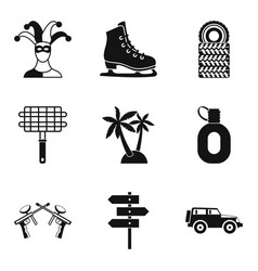 family event icons set simple style vector image