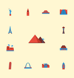 Flat icons paris london japan and other vector