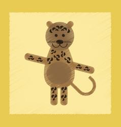 Flat shading style icon cartoon leopard vector