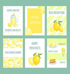 fresh lemon cards lemonade and lemon citric juice vector image