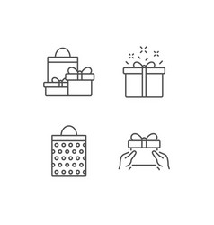Gifts line icons present shopping bag vector
