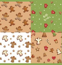 gingerbread cookies seamless pattern set vector image
