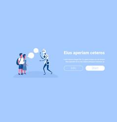 girl boy vs modern robot chat bubble speech vector image