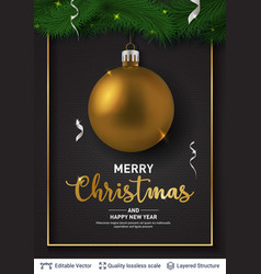 golden christmas ball and text on dark background vector image