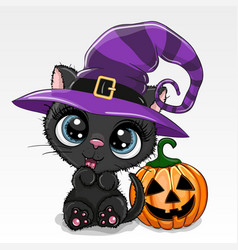 Halloween cartoon cat with pumpkin on a white vector