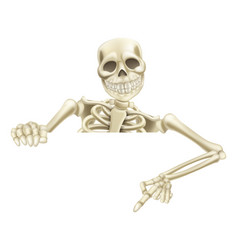 Halloween skeleton pointing down vector