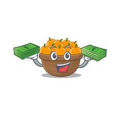 Happy face orange fruit basket character having vector