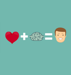 Heart and brains will make you happy vector
