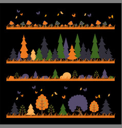 Horizontal abstract banners wild in forest vector