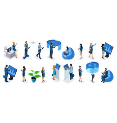 isometric set of businessmen and business vector image