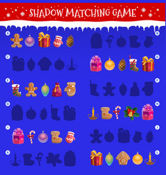 Kids shadow matching game with christmas toys vector