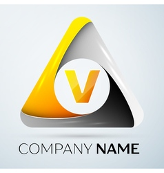 Letter V logo symbol in the colorful triangle on vector