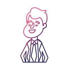 line happy groom with hairstyle and elegant suit vector image