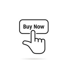 Linear hand with black buy now button vector