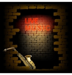 Live music neon light in the doorway of brick wall vector