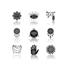 magical accessories in boho style drop shadow vector image