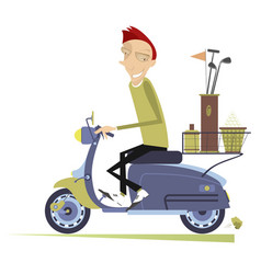 Man rides the scooter and goes to play golf vector