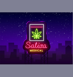 marijuana medical logo neon sativa medical vector image