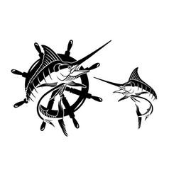 Marlin fish sets vector