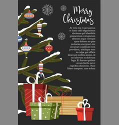 merry christmas celebration winter holiday with vector image
