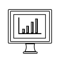 monitor desktop computer with statistics graph vector image