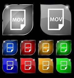 Mov file format icon sign Set of ten colorful vector