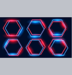 Neon hexagonal frames set in blue and red colors vector