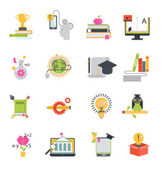 Online education icons set distance vector
