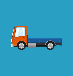 Orange mini lorry without load isolated vector