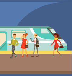 passengers boarding a train at platform part vector image