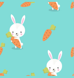 pattern bunny with carrot vector image