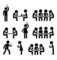 People on smartphones walking and playing games vector