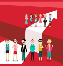 people on white arrow on red background men and vector image
