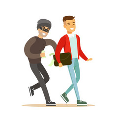 Pickpocket trying to steal money from smiling man vector