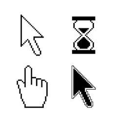 Pixel cursor icons vector image