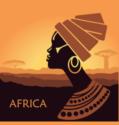 profile of african women in a landscape vector image