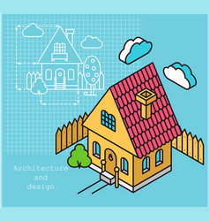 Project cottage in flat and isometric style vector