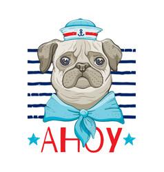 Pug dog sailor cute bain vintage hat neck vector