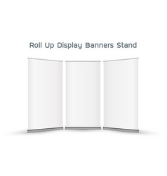 real 3d roll up display banners stand vector image