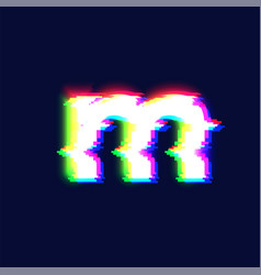realistic glitch font character m vector image