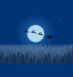 santa flying through night sky under the vector image