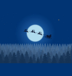 santa flying through the night sky under vector image