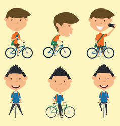 school boys on the bike vector image