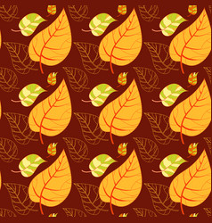 Seamless autumn leaves background vector