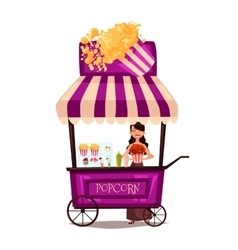 Selling popcorn on the street vector image