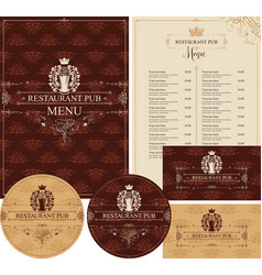 Set of design elements for restaurant pub vector