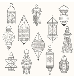 Set of old lamps Lantern dark silhouettes vector