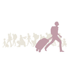 silhouette young man with backpack and trolley vector image