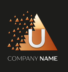 silver letter u logo symbol in the triangle shape vector image