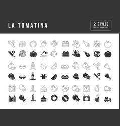simple icons la tomatina vector image